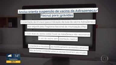 Governo de SP suspende aplicação da vacina AstraZeneca em grávidas - A Agência de Vigilância Sanitária (Anvisa) recomendou que seja seguida pelo Programa Nacional de Imunização (PNI) a indicação da bula da vacina. A bula atual da vacina contra Covid da AstraZeneca, não recomenda o uso da vacina em grávidas sem orientação médica.