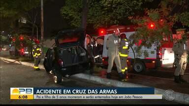 Pai e filha de 5 anos, que morreram em acidente, são enterrados hoje, em João Pessoa - A mãe da criança está internada em estado grave