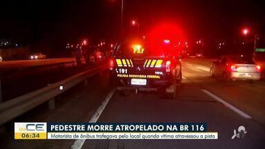 Homem morre atropelado por ônibus na BR-116 - Saiba mais em: g1.com.br/ce