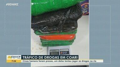Cinco homens são presos por tráfico de drogas em Coari, no AM - Um deles tentou jogar drogas no rio.