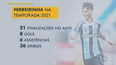 Ferreirinha fala dos bons números e de como tem se sentido no Grêmio - Assista ao vídeo.