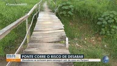 Moradores do bairro de Periperi reclamam de ponte que corre o risco de desabar - Estrutura de madeira foi construída de forma improvisada pela comunidade da região.