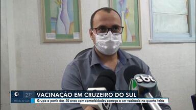 Cruzeiro do Sul inicia vacinação com pessoas a partir dos 40 anos com comorbidades - Cruzeiro do Sul inicia vacinação com pessoas a partir dos 40 anos com comorbidades