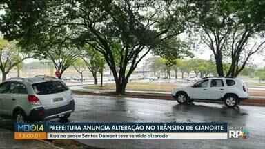 Prefeitura de Cianorte anuncia alteração no trânsito - Rua na praça Santos Dumont teve sentido alterado.