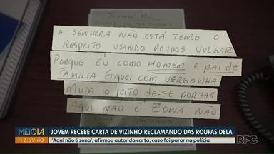 Jovem recebe carta de vizinho reclamando de roupas usadas por ela em condomínio no Paraná - 'Aqui não é zona', escreveu morador.