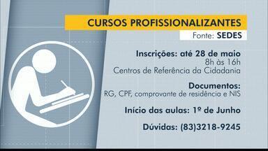 João Pessoa abre vagas para cursos profissionalizantes gratuitos - Inscrições vão até 28 de maio.