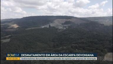 Ambientalistas denunciam desmatamento em área da escarpa devoniana - Entre as denúncias estão o corte e supressão de espécies por empresa de mineração