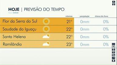 Temperaturas continuam baixas no oeste e no sudoeste - A máxima em Ramilândia será de 23 graus.