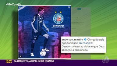 """Anderson Martins se despede do Bahia: """"Obrigado pela oportunidade"""" - Contratado a pedido de Mano Menezes, zagueiro estava fora dos planos do clube baiano e acertou rescisão contratual."""