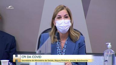 Mayra Pinheiro presta depoimento na CPI da Covid - Nesta terça-feira (25), a CPI da Covid ouviu a secretária de Gestão do Trabalho e da Educação na Saúde, Mayra Pinheiro. A secretária é uma das defensoras do tratamento precoce contra a Covid-19 com uso de medicamentos sem a eficácia comprovada cientificamente.