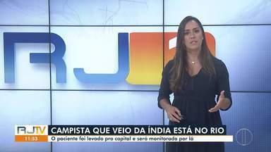 Morador de Campos positivo para Covid-19 após retorno da Índia é monitorado em hotel no RJ - Ainda não há informação sobre o tipo de cepa que o homem se contaminou.