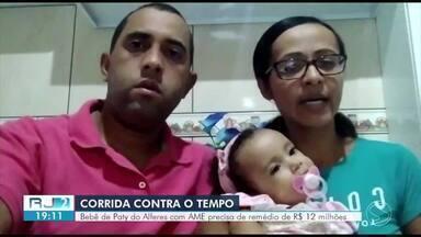 Família pede ajuda para comprar remédio de R$ 12 milhões e salvar bebê com doença rara - Pequena Lavínia, de um ano e um mês, foi diagnosticada com atrofia muscular espinhal (AME) e precisa tomar o remédio até os dois anos de idade.