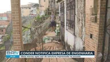 Conder notifica empresa responsável após morte de idoso em encosta no bairro da Calçada - Situação aconteceu nesta terça-feira (25), em Salvador.