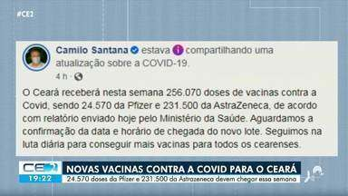 Ceará deve receber 256 mil vacinas contra a Covid-19 nesta semana - Confira mais notícias em g1.globo.com/ce