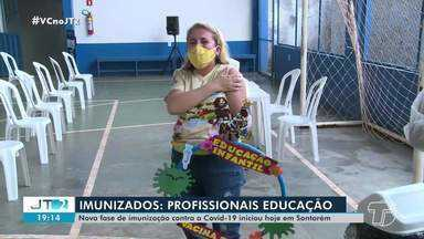 Profissionais da educação começam a ser imunizados contra a Covid-19 em Santarém - Confira mais detalhes na reportagem de Daniele Gambôa.