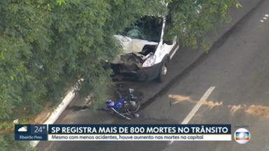 Mais de 800 pessoas morreram nas ruas da capital paulista em 2020; 345 foram motociclistas, diz levantamento da CET - Aumento foi de 2% em relação a 209, apesar da pandemia e menor número de pessoas circulando. Motociclistas lideram o ranking de mortes, seguidos de pedestres e ciclistas.