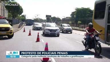 Policiais penais protestam em Belém - Policiais penais protestam em Belém