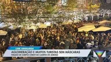 Campos do Jordão tem aglomeração em primeiro dia do Corpus Christi - Feriado prolongado teve movimento de turistas na cidade.