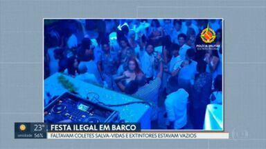 Polícia Militar e Marinha acabam com festa ilegal no Lago Paranoá - Barco tinha ultrapassado a capacidade de pessoas e não havia coletes salva-vidas para todos, além da falta do uso de máscaras.