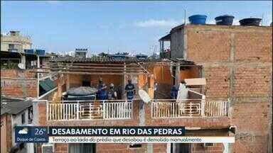 Prefeitura volta a Rio das Pedras para demolir terraço - Parte de imóvel teve que ser demolido manualmente, outros andares não apresentaram danos