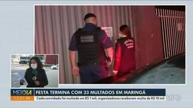 Fiscalização multa 33 por festa em Maringá - Evento clandestino foi realizado na zona sul da cidade.
