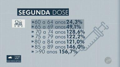 Covid-19: Veja a cobertura vacinal por faixa etária em Campinas - Entre os idosos, 100% da população recebeu a primeira dose.
