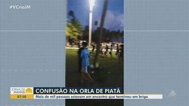 Briga generalizada é registrada na praça de Piatã, em Salvador - Situação provocou correria e aglomeração.