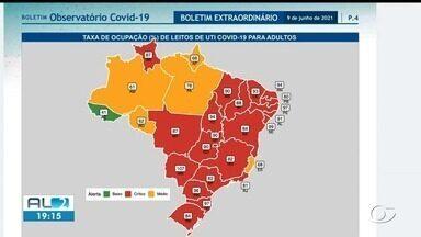 Ocupação de leitos de UIT para Covid em Alagoas é crítica - Taxa ultrapassa 90% no estado.