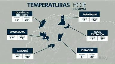 Temperaturas despencaram no Noroeste - Em Guarapuava teve geada e 1,3°C pela manhã.