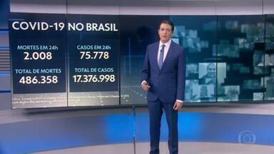 Brasil registra 2 mil novas mortes por Covid em 24 horas e passa de 485 mil óbitos - País registrou 2.008 vítimas da doença nas últimas 24 horas.