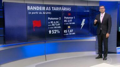Conta de luz: Aneel reajusta valor da bandeira tarifária vermelha 2 em 52% - Bandeira tarifária vermelha patamar 2 será aplicada até novembro. Cobrança passou de R$ 6,24 para R$ 9,49 a cada 100 kWh consumidos.