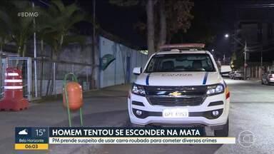 Depois de perseguição, polícia prende suspeito de cometer vários crimes em BH - O homem dirigia um carro roubado quando foi encontrado pela polícia.