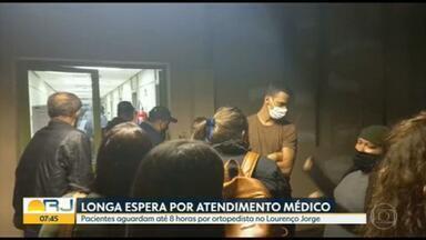Pacientes aguardam até 8 horas por atendimento ortopédico no Hospital Lourenço Jorge - Demora no atendimento de pacientes na ortopedia do Hospital Lourenço Jorge - na Barra da Tijuca, Zona Oeste do Rio: Teve gente que esperou mais de 8 horas para ser atendido.