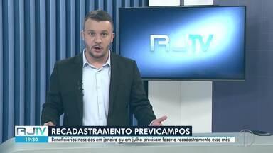 Beneficiários do PreviCampos nascidos de janeiro a julho precisam fazer recadastramento - Processo é realizado de forma presencial e por meio de aplicativo.