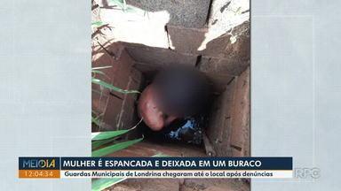 Mulher é agredida e abandonada em buraco com cerca de 3 metros de profundidade em Londrina - Uma pessoa denunciou para a Guarda Municipal que encontrou a mulher de 32 anos com ferimentos graves. Ela foi socorrida com ferimentos em várias partes do corpo. Encontrada à tarde, ela disse aos agentes que estava no buraco desde a madrugada.