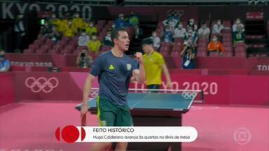 Hugo Calderano avança às quartas de final no tênis de mesa - Ele é o primeiro atleta brasileiro a chegar às quartas de final no tênis de mesa.