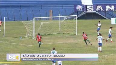 Portuguesa vira sobre o São Bento na Série D do Campeonato Brasileiro - A Portuguesa venceu o São Bento por 3 a 2, na tarde de sábado (7), no estádio Walter Ribeiro, em Sorocaba (SP), em jogo válido pela décima rodada do Grupo 7 da Série D do Campeonato Brasileiro.