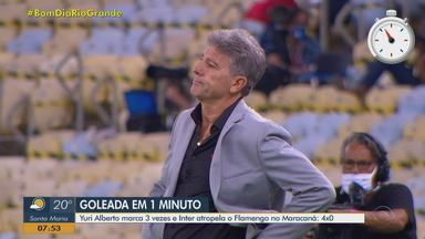 Rodada em 1 minuto: Inter aplica maior goleada sobre o Flamengo fora de casa - Última vitória do Colorado como visitante contra o Mengão ocorreu em 2015. Neste domingo, time gaúcho fez 4 a 0 no Maracanã.