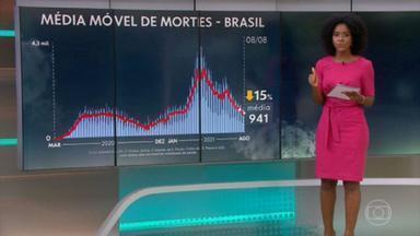 Brasil tem média móvel de 941 mortes por Covid - Ao todo, país registra 563.470 óbitos e 20.162.837 casos de coronavírus, segundo balanço do consórcio de veículos de imprensa com dados das secretarias de Saúde.
