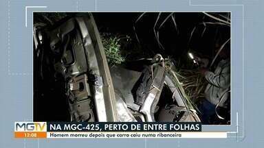 Homem morre em acidente na MG-425, em Entre Folhas - Motorista perdeu o controle da direção após uma curva.