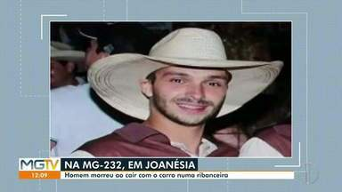 Em Joanésia, homem morre após sair da MG-232 e cair em ribanceira de 30 metros - Bombeiros foram acionados, mas vítima já não tinha sinais vitais.