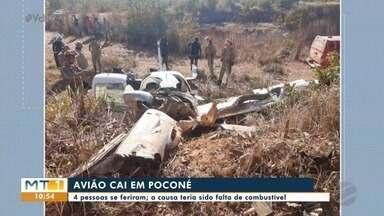 4 pessoas se feriram em queda de avião em Poconé - 4 pessoas se feriram em queda de avião em Poconé.