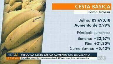 Preço da cesta básica aumenta 13% em um ano em Ponta Grossa - Em julho, preço da cesta aumentou 2,99% em relação ao mês anterior.
