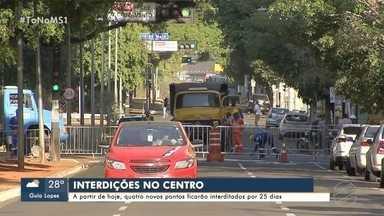Semana começa com 4 novas interdições no centro de Campo Grande - Afonso Pena, Mato Grosso e dois trechos da Rui Barbosa estão em obras