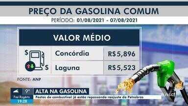 Postos de combustível de SC repassam reajuste no preço da gasolina - Postos de combustível de SC repassam reajuste no preço da gasolina
