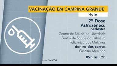 Confira o cronograma de vacinação contra a Covid-19, em Campina Grande e João Pessoa - Veja as idades e horários de vacinação.