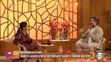 Marcos Mion conta sobre primeira vez que pisou nos Estúdios Globo - Nesta quinta, o apresentador participou da gravação do programa 'Lady Night' com Tatá Werneck. Mion tinha apenas 17 anos quando trabalhou na Globo no seriado 'Sandy & Júnior'