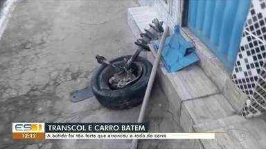 Ônibus do Transcol bate em carro de passeio em Santo Antônio, Vitória - Assista.