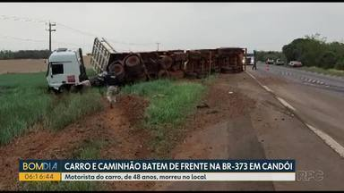 Carro e caminhão batem de frente na BR-373 em Candói - Motorista do carro, de 48 anos, morreu no local