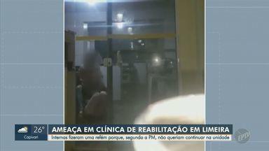 Jovem é feita refém em clínica de reabilitação em Limeira e PM negocia liberação por 2h - Uma adolescente de 17 anos e uma mulher, de 40, foram flagradas chutando e ameaçando com facas a vítima. Todas são pacientes da unidade.